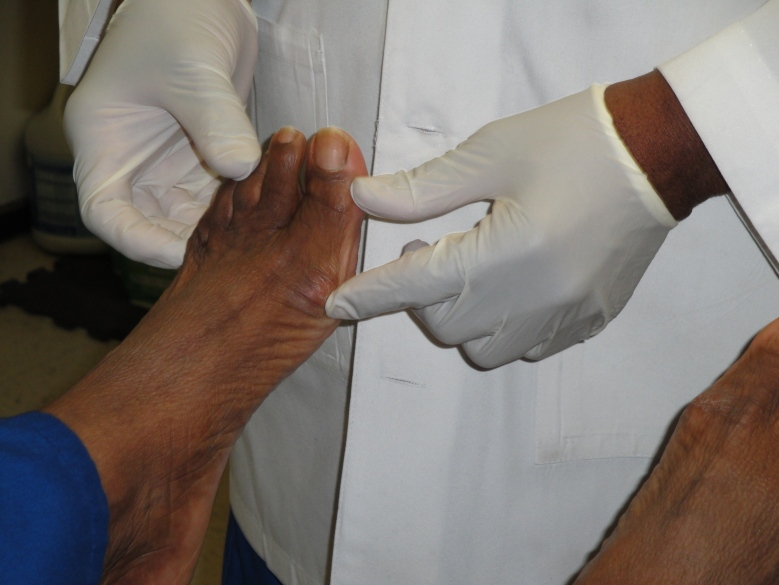 Dr. Davis examines a foot