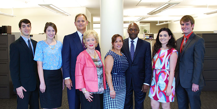 From left, Gerry Lane Scholars Michael Cuzanza and Brook Martin; Eric Lane and his mother, Faye Lane; Kim Patton and husband Cedric Patton, business partner of Eric; and Gerry Lane Scholars Rhiannon Ballard and Ryan Hodgins meet at a scholarship luncheon. Not pictured is Meaghan Randle-Hanks. Photo by Josh Duplechain.