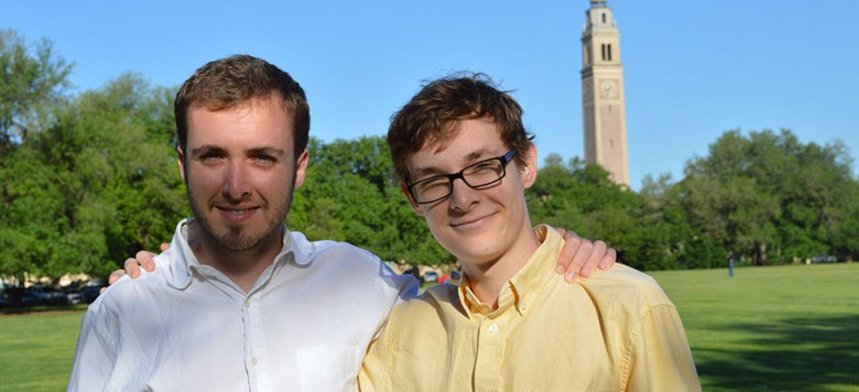 Tim and Daniel Banks on LSU's Parade Ground, photographed by Lauren C Brown
