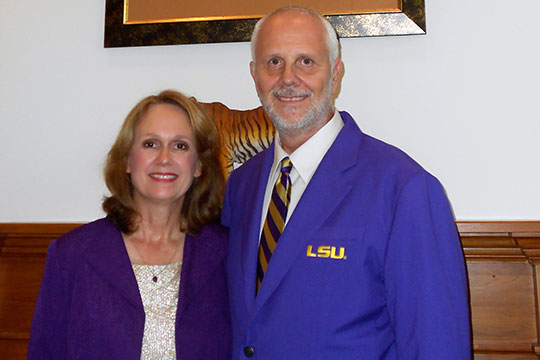 """The matching gift program is important because it's a way for Chevron to encourage employees to give back to what's important to you. In our case, that's LSU. Chevron says, 'If it's important to you, it's important to us.'"" Ken Garrett, pictured with his wife, Susan"