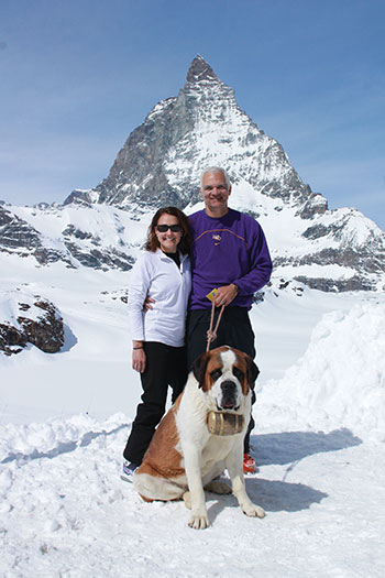 Allyson and Ronnie Morris brought their LSU spirit on a ski trip in northern Italy, where they met a canine friend. Behind them is the Matterhorn, bordering Zermatt and Cervinia.