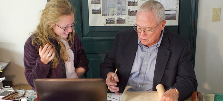 Professor Ken Carpenter assists a senior architecture student. Photo by Andrea Laborde Barbier.
