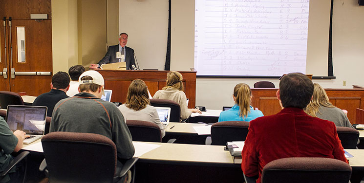 Glenn Morris, J. Dawson Gasquet Professor of Law and Vinson & Elkins Professor of Law, teaches a class at LSU Law. Photo by Andrea Laborde Barbier