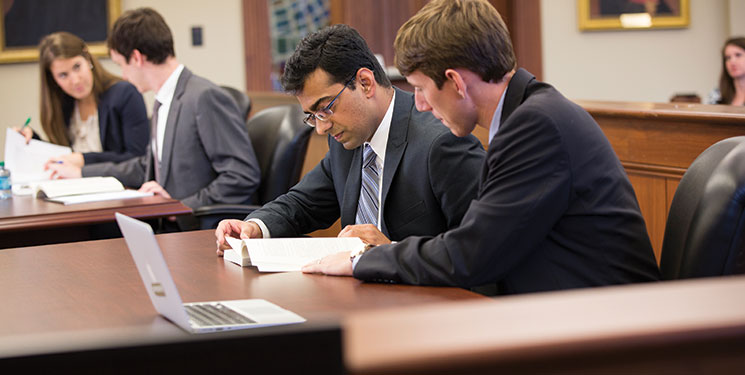 Law students prepare for a mock trial.
