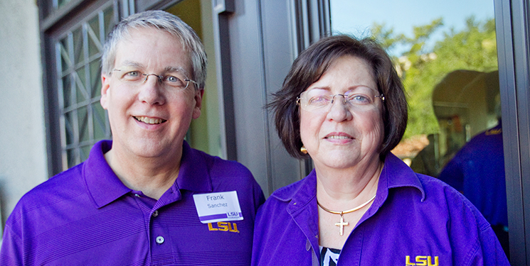 Dr. Frank Sanchez and wife Janet at a recent tailgate reception with LSU Foundation members, photographed by Andrea Laborde Barbier