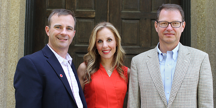 Trey and Kim Bowman with Dr. Wayne Newhauser, photographed by Andrea Laborde Barbier